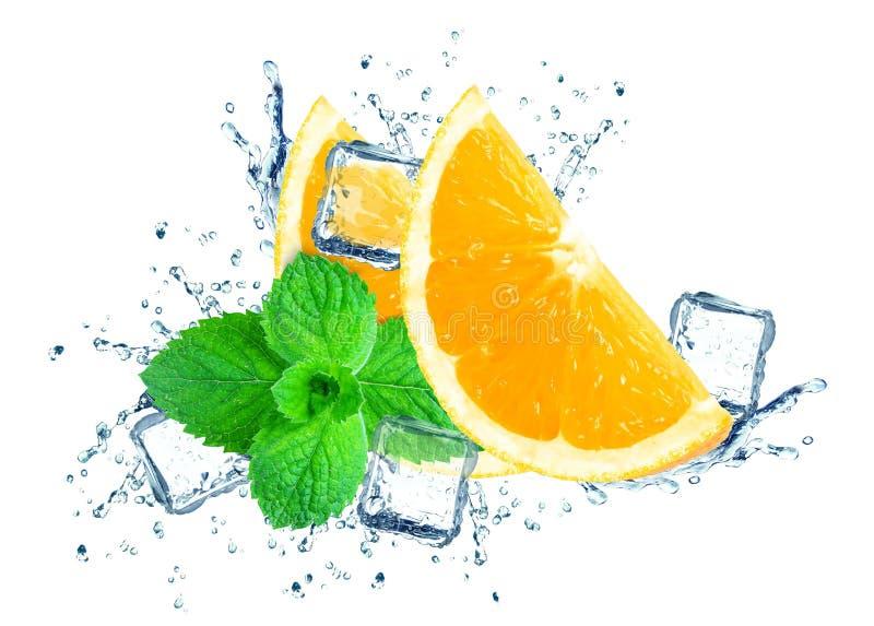 Éclaboussure orange de l'eau image stock
