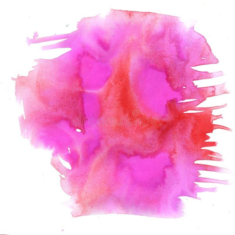 Éclaboussure orange rose d'aquarelle la baisse abstraite d'aquarelle a isolé la tache pour votre art de conception illustration libre de droits