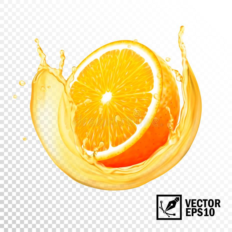 éclaboussure réaliste du vecteur 3D de tranche d'orange de jus Maille faite main Editable illustration de vecteur