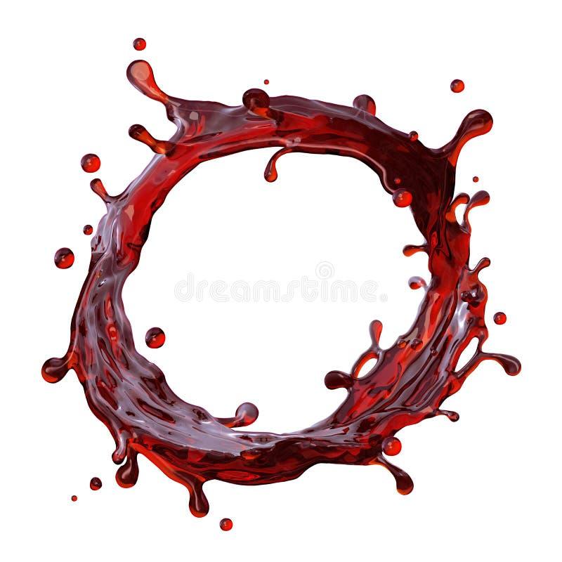 Éclaboussure ronde de boissons de jus de vin rouge ou de cerise illustration libre de droits