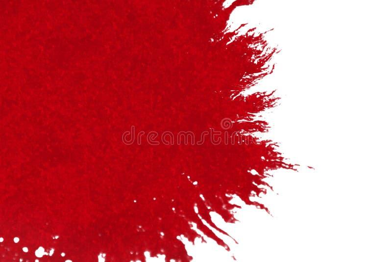 Éclaboussure rouge abstraite d'éclaboussure d'aquarelle d'encre de sang sur le fond blanc, l'horreur dangereuse ou les soins de s illustration libre de droits