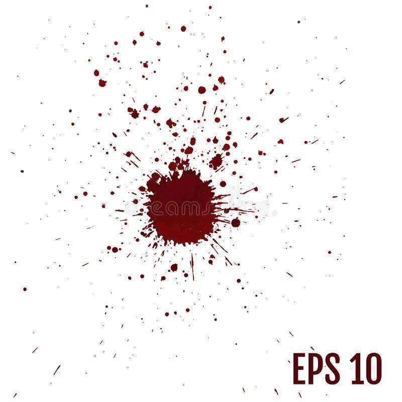 Éclaboussures de sang, liquide d'éclaboussure, encre de tache, tache et bl réalistes illustration de vecteur