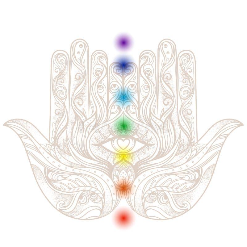 Éclair ésotérique de tatouage Hamsa tiré par la main fleuri avec des chakras bruit illustration stock