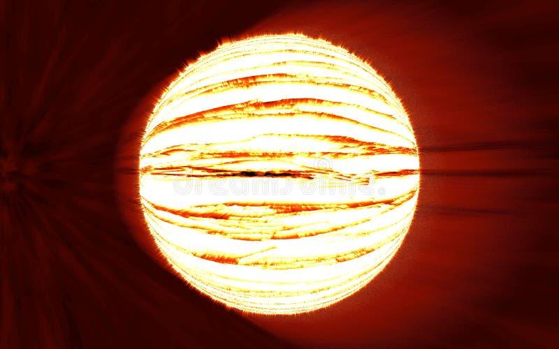 Éclair lumineux d'explosion de planète sur milieux rouges illustration de vecteur
