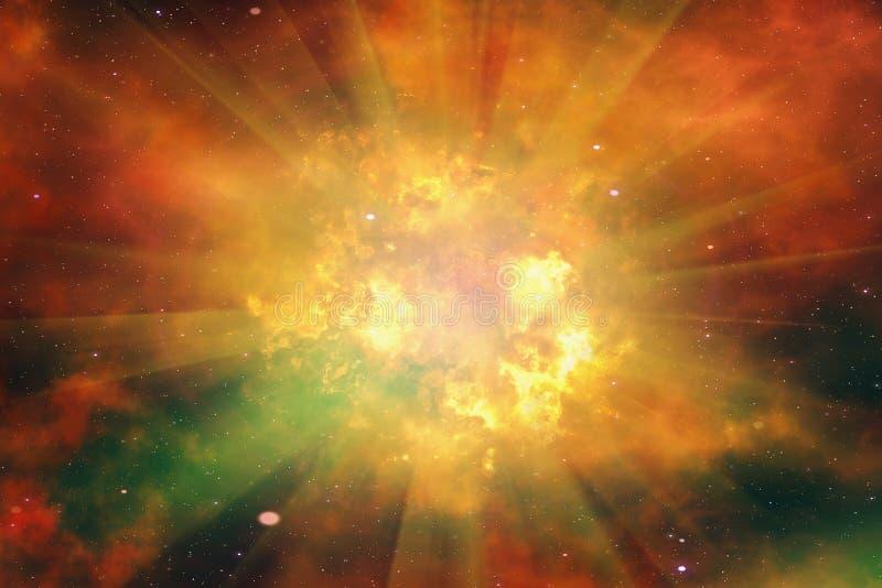 Éclair lumineux d'explosion sur un fond de l'espace illustration stock