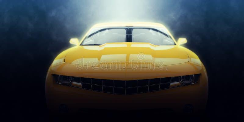 Éclairage épique automobile de muscle jaune illustration libre de droits