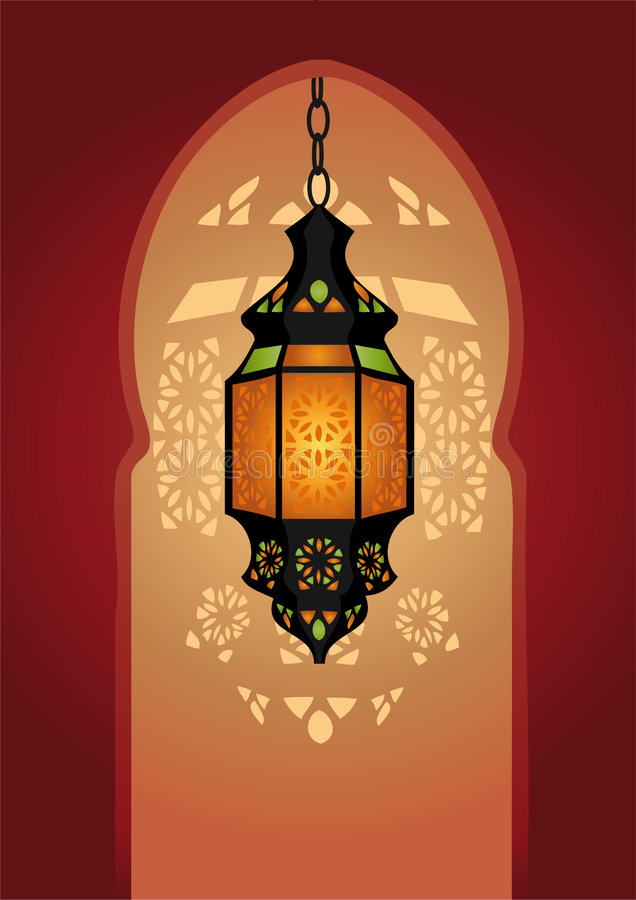 éclairage arabe de lampe illustration de vecteur