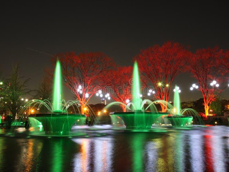 Éclairage de fontaine photos stock