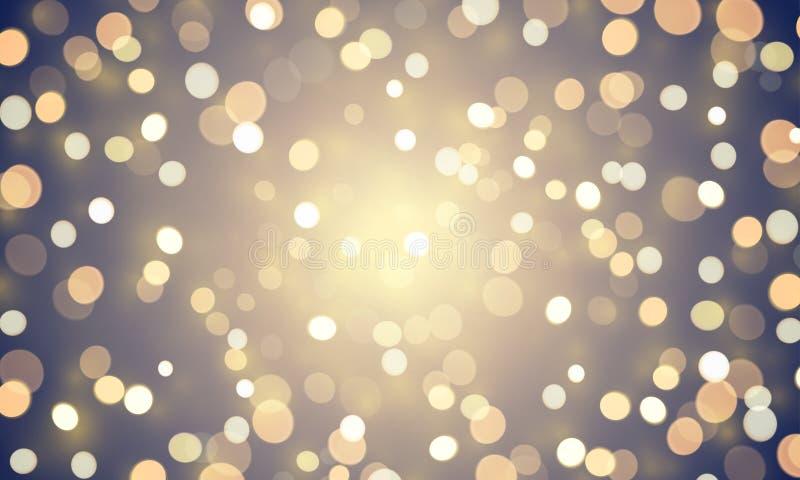 Éclat abstrait léger de bokeh ou fond d'or d'effet de scintillement Dirigez les lumières brillantes de confettis pour le fond de  illustration de vecteur