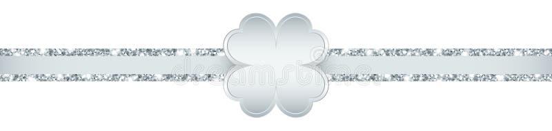 Éclat argenté de feuille de trèfle de ruban horizontal de scintillement illustration libre de droits