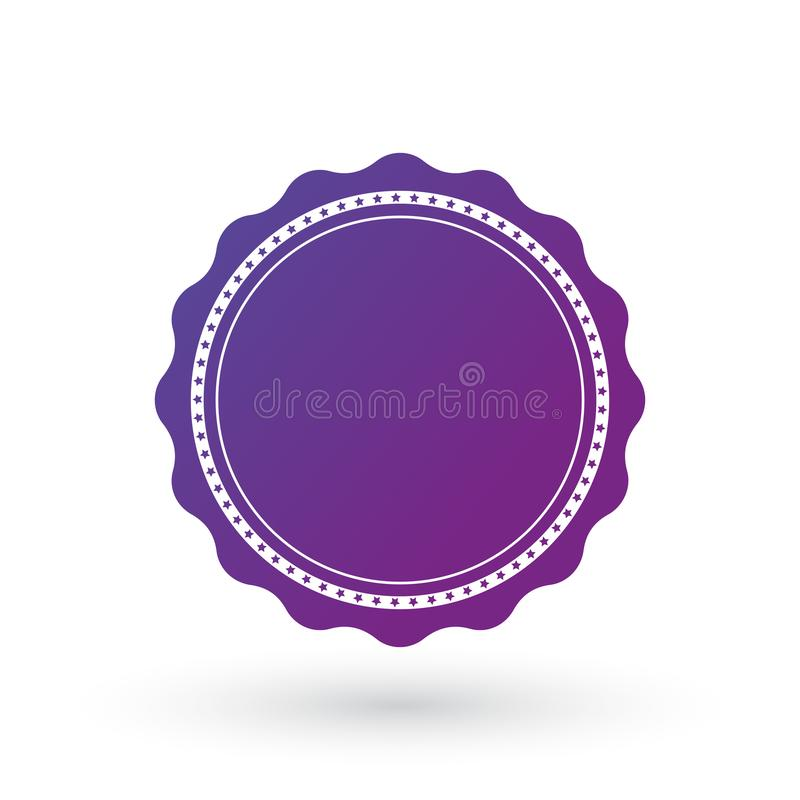 Éclat bordé doux de gradient pourpre avec les étoiles, l'insigne, le joint ou le label avec la ligne autour illustration plate de illustration stock