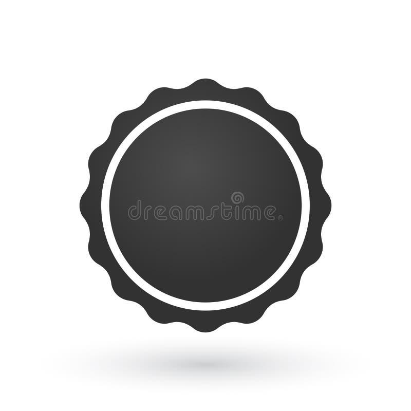Éclat bordé doux, insigne, joint ou label de gradient noir avec la ligne autour illustration plate de vecteur pour des applis et  illustration stock