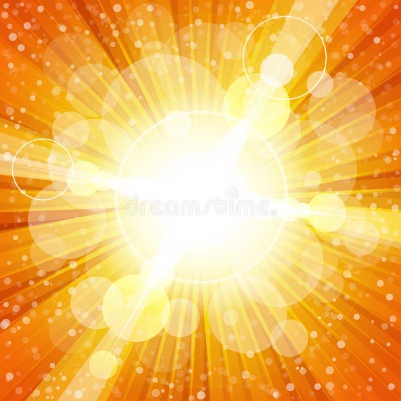 Éclat coloré jaune et orange de lumière avec illustration de vecteur