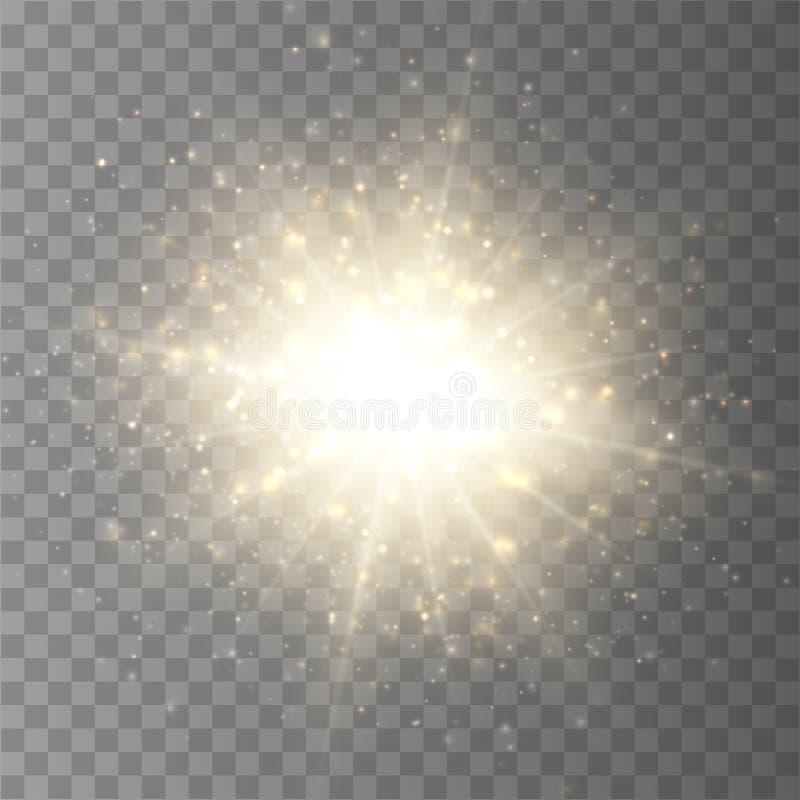 Éclat d'étoile avec la poussière et l'étincelle d'isolement Effet de la lumière de lueur illustration stock