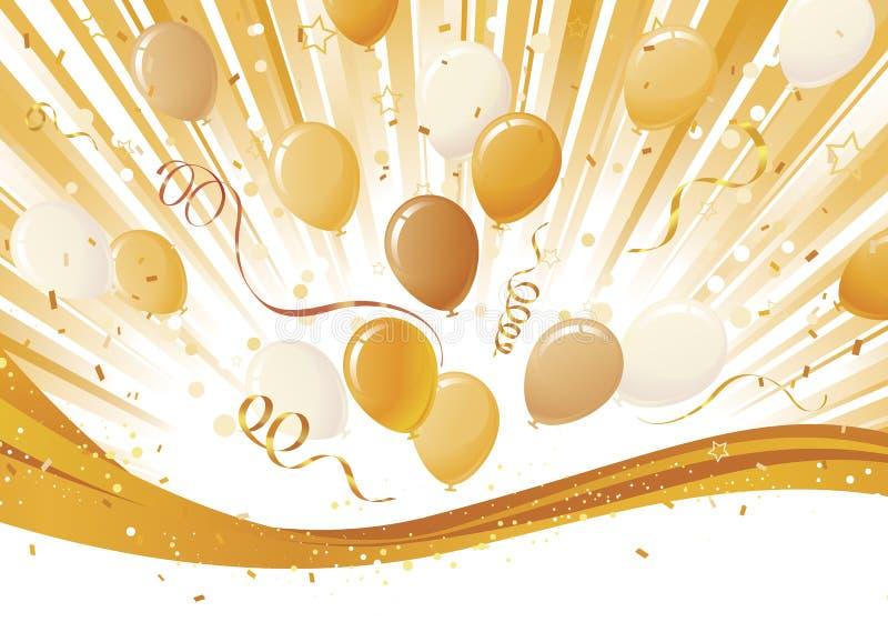 Éclat d'or et explosion de ballon illustration de vecteur