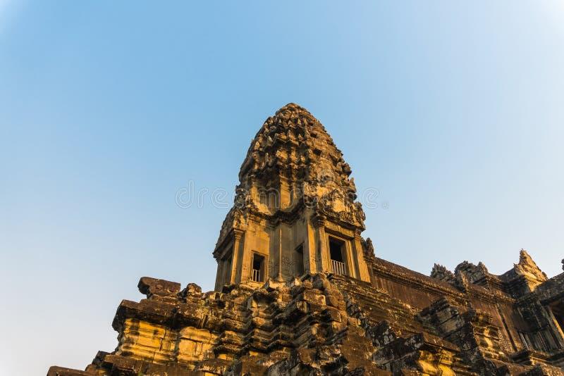 Éclat de lumière de coucher du soleil sur Angkor Vat dans Siem Reap Cambodge photographie stock libre de droits