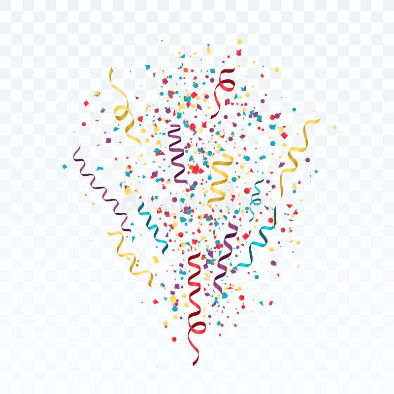 Éclat des confettis et des flammes colorés Calibre de fête avec des confettis et des rubans Vecteur illustration de vecteur