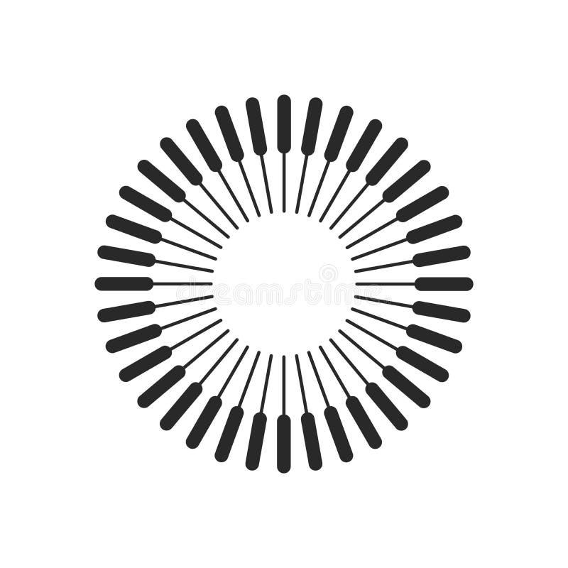 Éclat, poutres, cercles de dessin géométrique de rayons Illustration de vecteur d'isolement sur le fond blanc illustration de vecteur