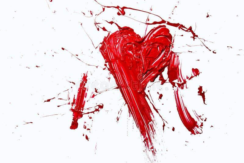 Éclatement du coeur peint de couleur rouge illustration stock