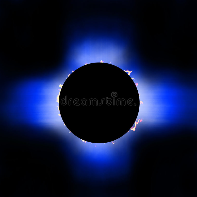 Éclipse de Sun avec les proéminences et la corona illustration stock