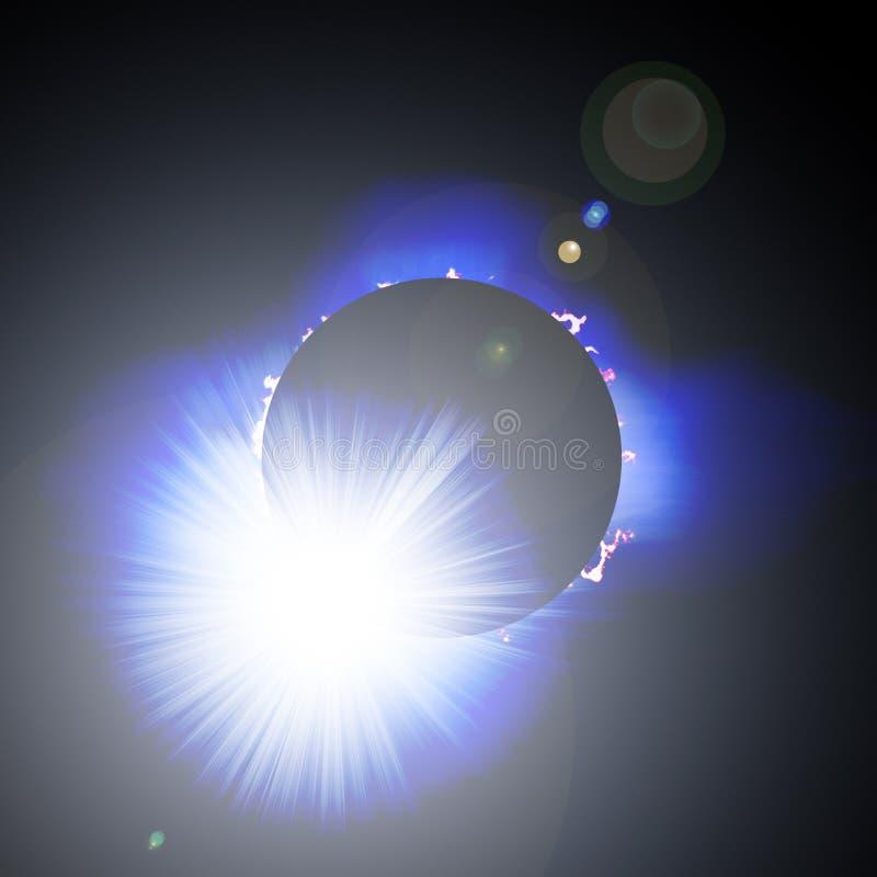 Éclipse de Sun avec les proéminences, la corona et le Li illustration libre de droits