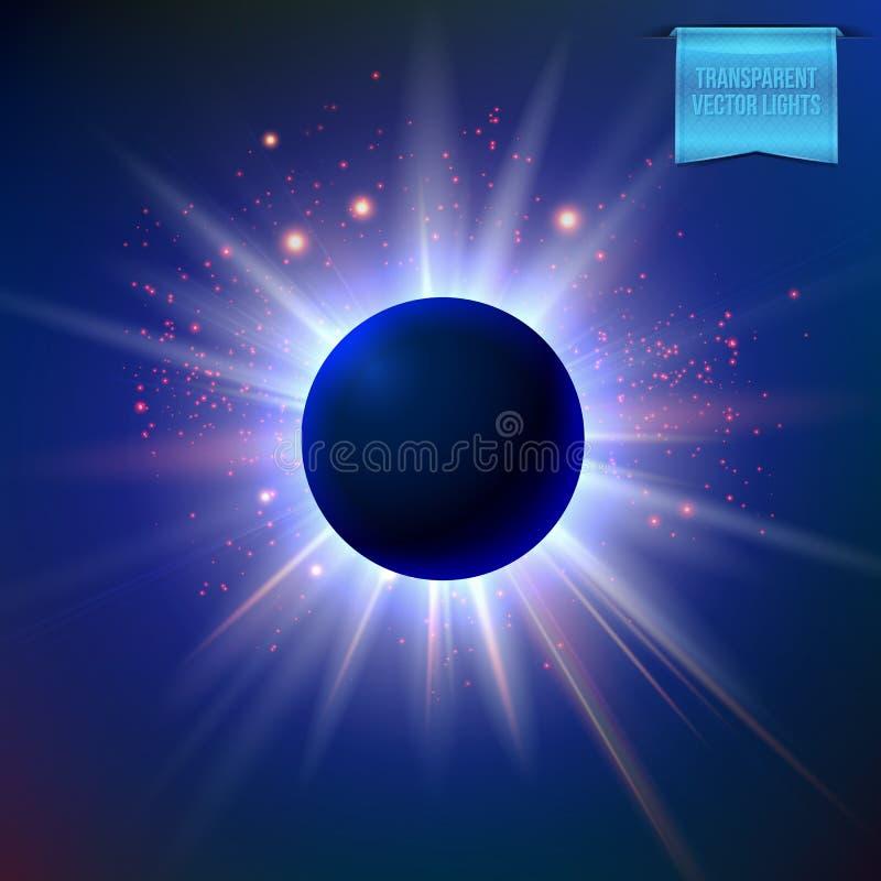 Éclipse de vecteur avec les lumières de scintillement d'étoile et la fusée rayonnante et rougeoyante autour de elle illustration libre de droits