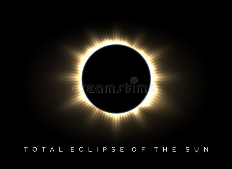 Éclipse totale de l'affiche du soleil illustration libre de droits
