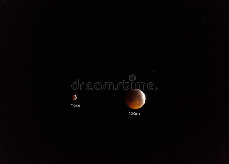 Éclipse totale de lune de 21 01 2019 photos libres de droits