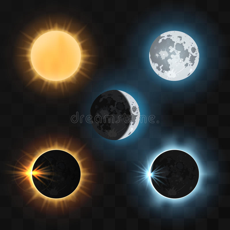 Éclipses de lune de Sun Illustration de vecteur illustration stock