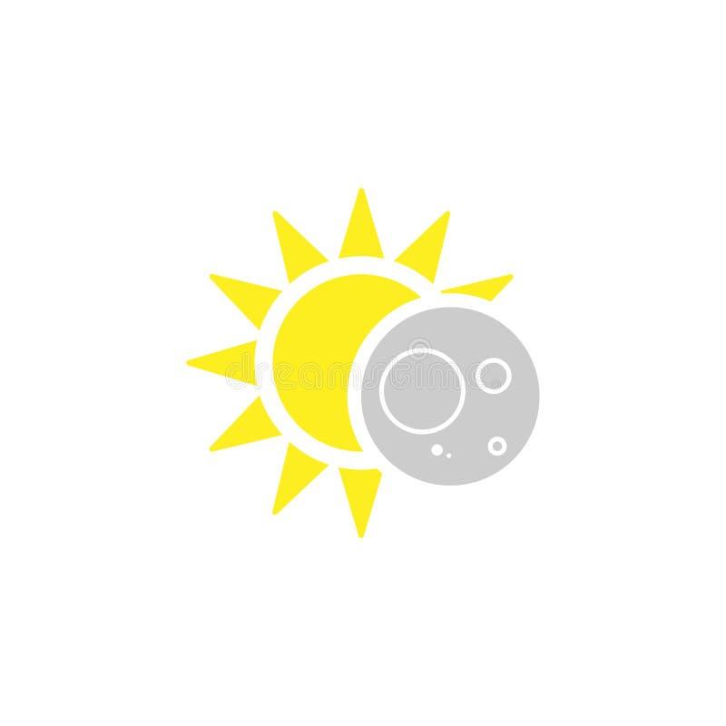 Éclipsez l'icône solaire dans le style plat, illustration de vecteur illustration de vecteur