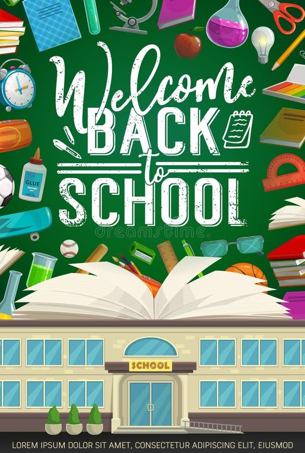 École, approvisionnements d'étudiant et livre sur le tableau noir illustration de vecteur