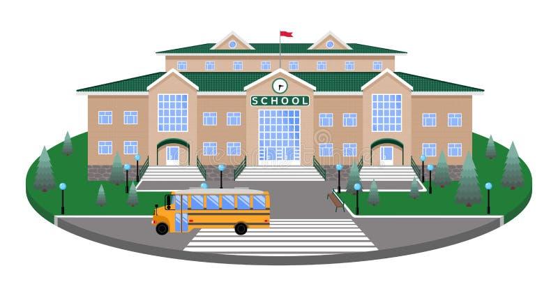 École, bâtiment classique sur la plate-forme circulaire de la pelouse à la route, passage pour piétons, avec la section de l'effe illustration de vecteur