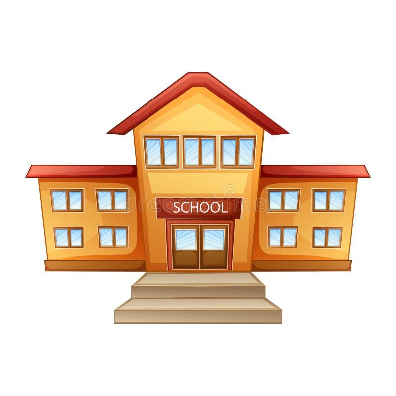 École de bâtiment d'isolement sur le fond blanc illustration libre de droits