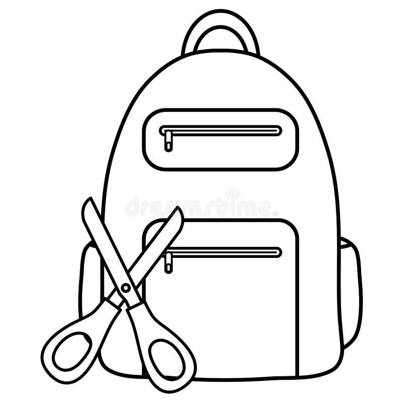 École de ciseaux avec des approvisionnements de cartable illustration stock