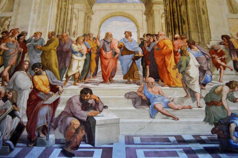 École de fresque d'Athènes par Raphael photo stock