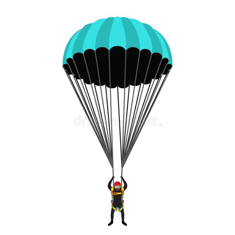 École de parachutisme, ensemble d'académie Sac de parachute, parachutiste dans l'appartement illustration libre de droits