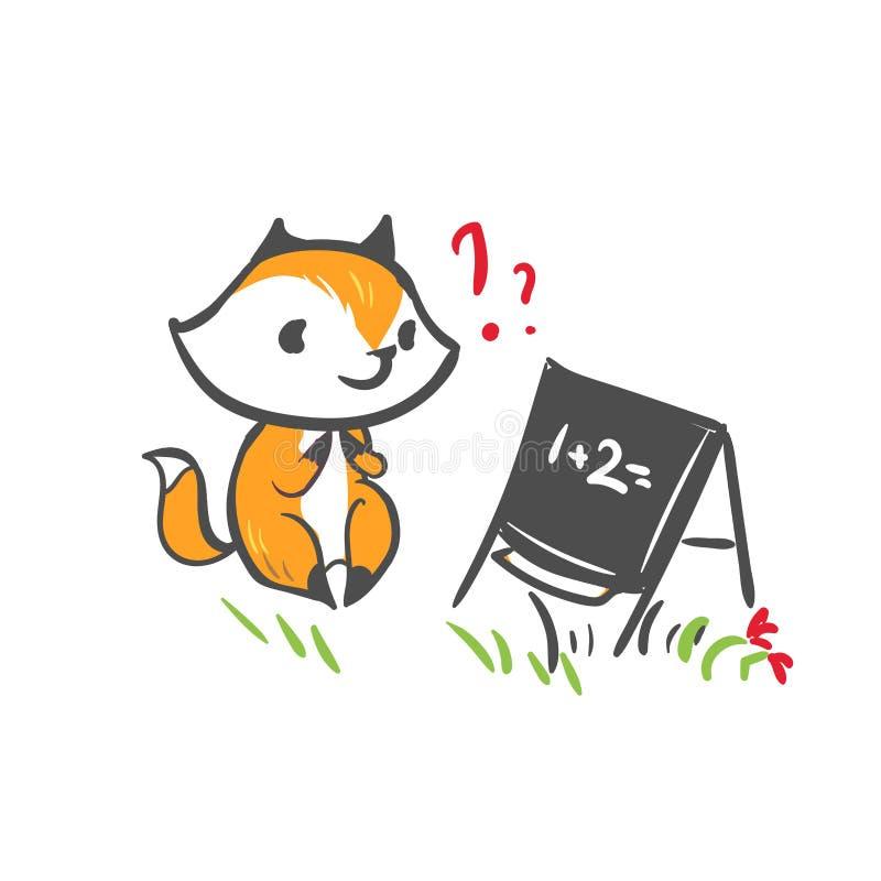École de tâche de question de bébé de renard de caractère de vecteur illustration de vecteur