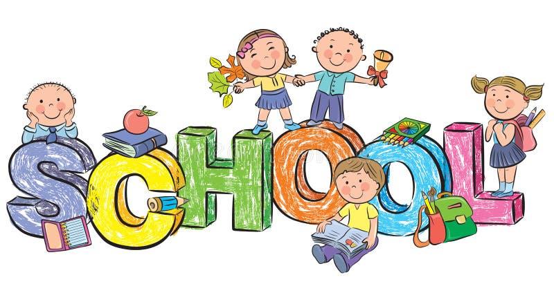 École de Word et enfants drôles illustration libre de droits