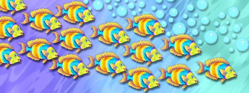 École des poissons tropicaux lumineux illustration de vecteur