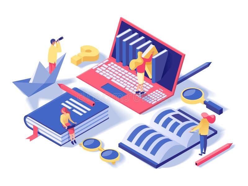 École en ligne, illustration isométrique de vecteur de classes illustration stock