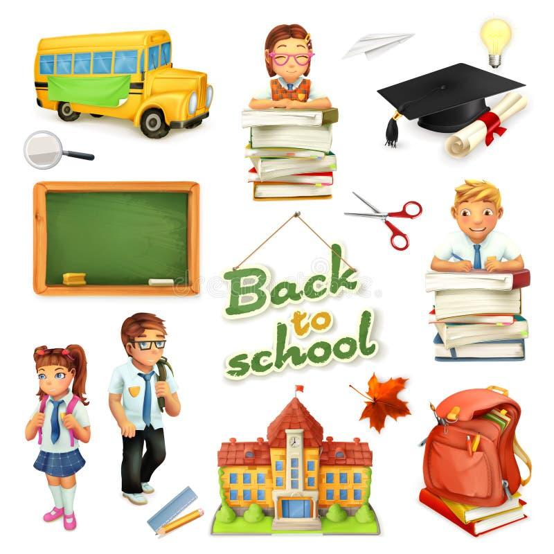 École et éducation ensemble d'icône du vecteur 3d Personnages de dessin animé et objets drôles illustration stock