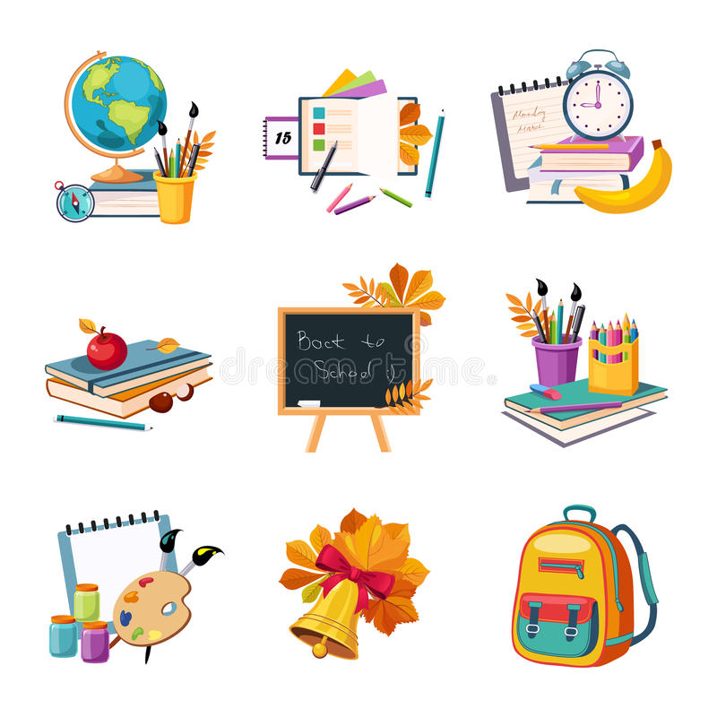 École et ensembles d'objets connexes par écoulement illustration libre de droits