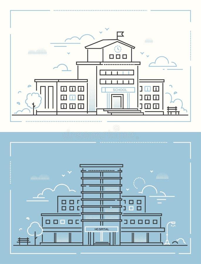 École et hôpital - placez de la ligne mince illustrations de vecteur de style de conception illustration libre de droits