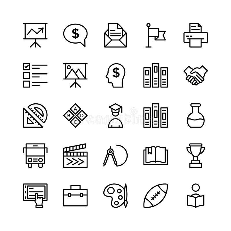 École et ligne icônes 7 d'éducation de vecteur illustration stock