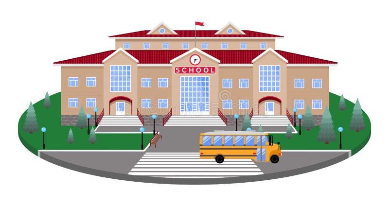 École, immeuble de brique beige léger classique la plate-forme circulaire de la pelouse à la route, passage pour piétons, avec le illustration libre de droits