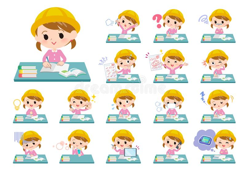 École maternelle girl_study illustration stock