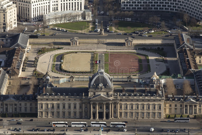 École militaire, Paris from the Tour Eiffel stock image