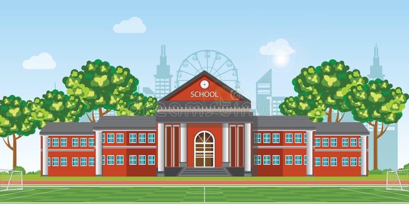 École moderne avec le terrain de football devant le bâtiment scolaire illustration libre de droits