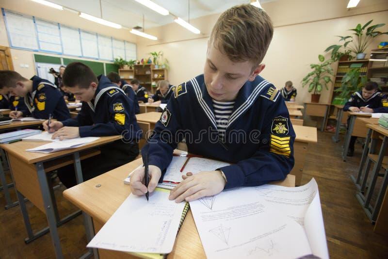 École navale de cadet de St Petersburg Cadets dans la salle de classe photographie stock