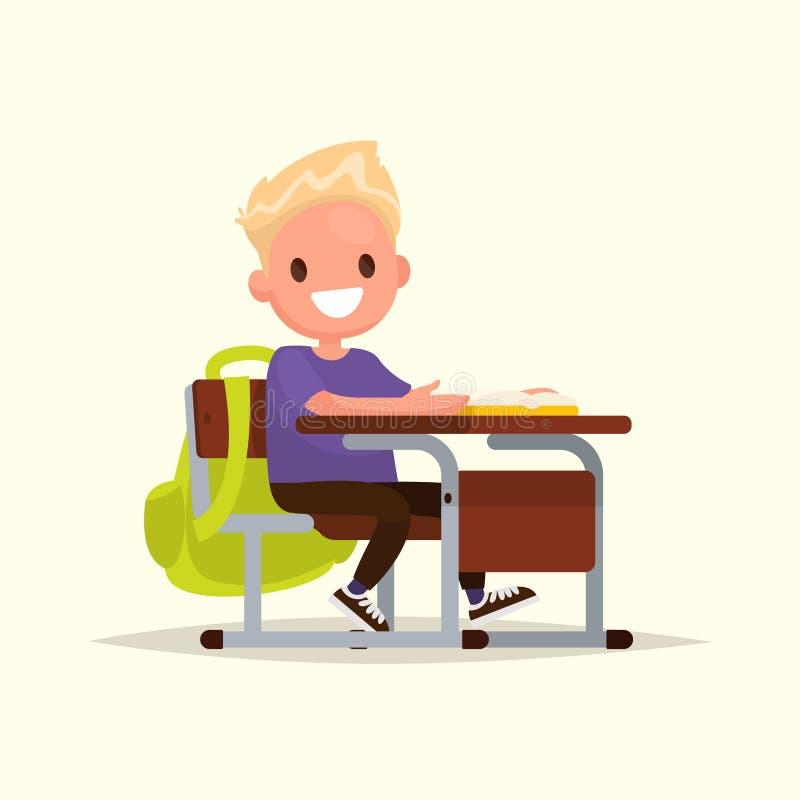 École primaire d'étudiant L'écolier s'assied à un bureau d'école illustration stock